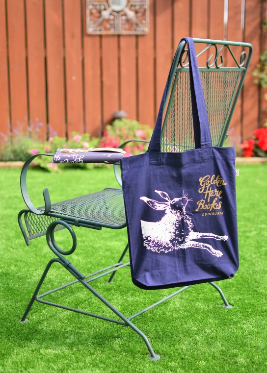 Book bag and mystery book from Golden Hare Books