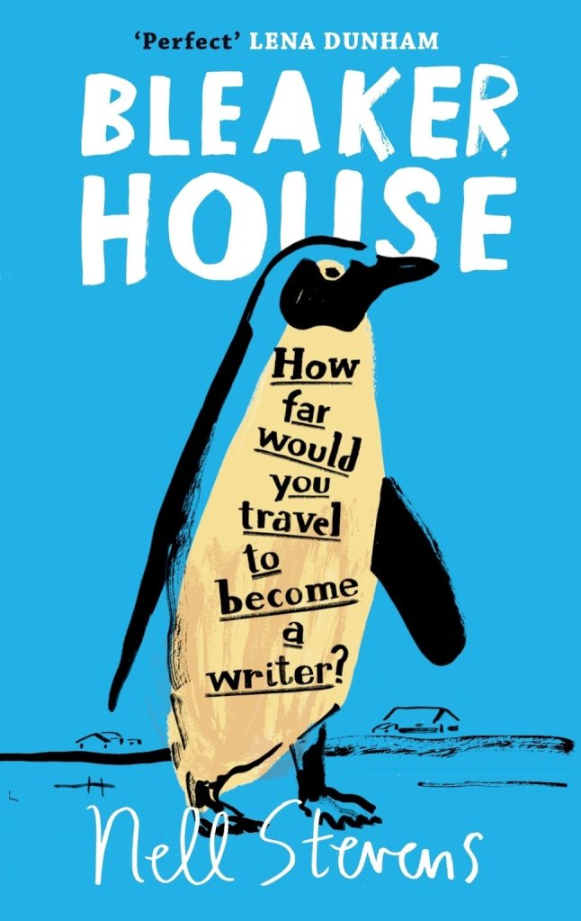 This book cover is done in a painting style. The background is bright blue. The title and author name are in white. The main image is a penguin, with the words 'How far would you travel to become a writer?' on the front of the penguin.