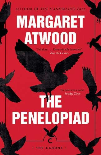 This book cover has a red background. The author's name, Margaret Atwood, and the book title, The Penelopiad, are in white block capitals. There is a repeated black print of an owl in differing sizes all over the cover.