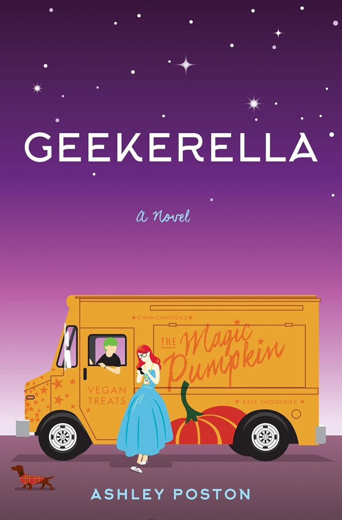 This image is the book cover of Geekerella by Ashley Poston. It has a purple background. There is an orange van, and it is being driven by someone with green ahir. THere is a woman dressed in a blue ballgown leaning against the van, looking at her phone.